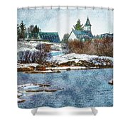Church In Thingvellir Shower Curtain