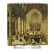 Church Interior With Christ Preaching To A Congregation, 1570 Shower Curtain