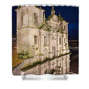 Church Of Saint Lawrence By Night In Porto Shower Curtain