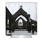 Church Of St Thomas A Becket In Heptonstall In Falling Snow Shower Curtain