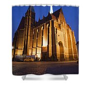Church Of The Holy Cross By Night In Wroclaw Shower Curtain