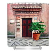 Church Side Door - Taormina Sicily Shower Curtain