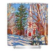 Church Snow Scene Shower Curtain