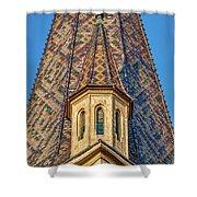 Church Spire Details - Romania Shower Curtain
