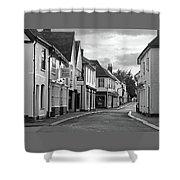 Church Street Sawbridgeworth In Black And White Shower Curtain
