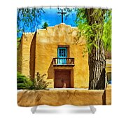 Church With Blue Door Shower Curtain