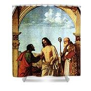Cima Da Conegliano The Incredulity Of St Thomas With St Magno Vescovo Shower Curtain