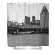 Cincinnati And Bridge Black And White  Shower Curtain
