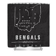 Cincinnati Bengals Art - Nfl Football Wall Print Shower Curtain by Damon Gray
