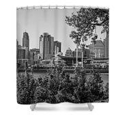 Cincinnati Skyline Through Trees Shower Curtain