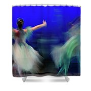 Cinderella And Fairy Godmother Dancing With Green Fairies In Bal Shower Curtain