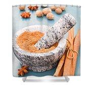 Cinnamon In Mortar Shower Curtain
