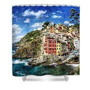 Cinque Terre - Riomaggiore From Above- Vintage Version Shower Curtain