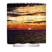 Cinque Terre - Sunset From Manarola - Panorama - Vintage Version Shower Curtain