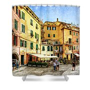 Cinque Terre - Vernazza Main Street - Vintage Version Shower Curtain