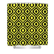 Circle And Oval Ikat In Black N05-p0100 Shower Curtain