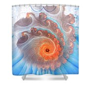 Circle Fire Blue Shower Curtain