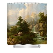 Circle Herdsmen Resting Shower Curtain