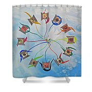 Circle Of Hearts Shower Curtain