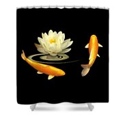 Circle Of Life - Koi Carp With Water Lily Shower Curtain