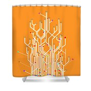 Circuit Board Graphic Shower Curtain by Setsiri Silapasuwanchai