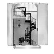 Circular Staircase In Black And White Shower Curtain