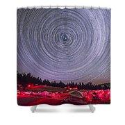 Circumpolar Star Trails Above The Table Shower Curtain