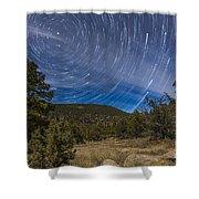 Circumpolar Star Trails Over The Gila Shower Curtain