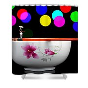 Circus Balance Game On Chopsticks Shower Curtain