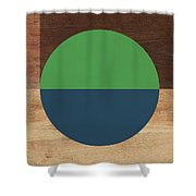 Cirkel Blue And Green- Art By Linda Woods Shower Curtain