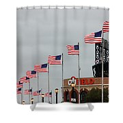 Citifield And American Flags Shower Curtain