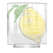Citrus Fruit Illustrated With Cities Of Florida State Shower Curtain