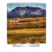 City - Arizona - Southwestern Cargo Train Shower Curtain