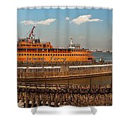 City - Ny - The Staten Island Ferry - Panorama Shower Curtain