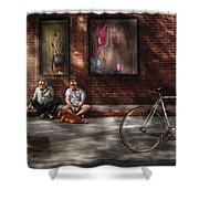 City - Ny - Two Guys And A Dog Shower Curtain