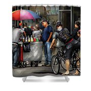 City - Ny Delancy St - Getting A Snowcone  Shower Curtain
