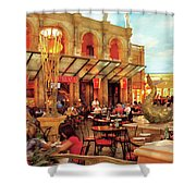 City - Vegas - Cesar's - Lunch In Italy Shower Curtain