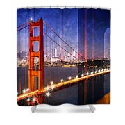 City Art Golden Gate Bridge Composing Shower Curtain by Melanie Viola
