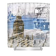City Art Westminster Collage Shower Curtain
