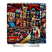 City At Night Downtown Montreal Shower Curtain