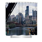 City At The Waterfront, Chicago River Shower Curtain