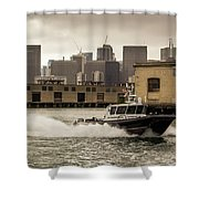 City Bay Police Boat - Color  Shower Curtain