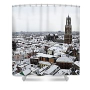 City Centre Of Utrecht With The Dom Tower In Winter Shower Curtain