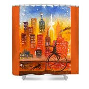 City Cycle In The Warm Evening Shower Curtain