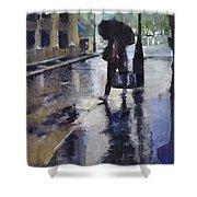 City Evening Rain Shower Curtain