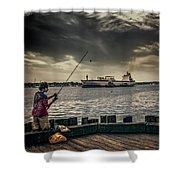 City Fishing Shower Curtain
