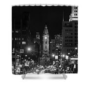 City Hall - Black And White At Night Shower Curtain
