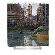 City Hall Reflecting In Swann Fountain Shower Curtain