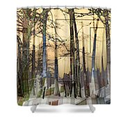 City In Trees Shower Curtain