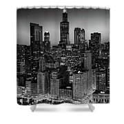 City Light Chicago B W Shower Curtain